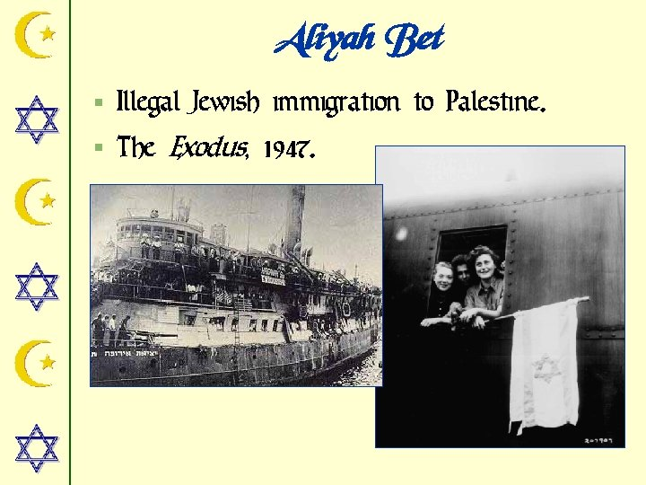 Aliyah Bet § Illegal Jewish immigration to Palestine. § The Exodus, 1947.