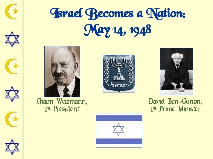 Israel Becomes a Nation: May 14, 1948 Chaim Weizmann, 1 st President David Ben-Gurion,