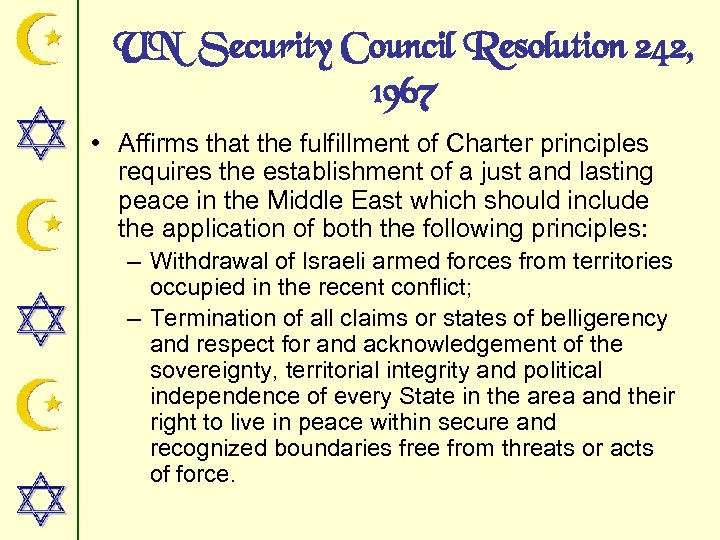 UN Security Council Resolution 242, 1967 • Affirms that the fulfillment of Charter principles