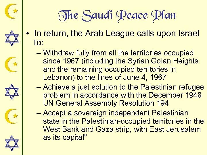 The Saudi Peace Plan • In return, the Arab League calls upon Israel to: