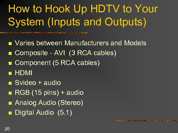 How to Hook Up HDTV to Your System (Inputs and Outputs) n n n