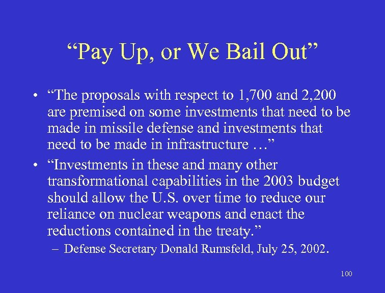 """""""Pay Up, or We Bail Out"""" • """"The proposals with respect to 1, 700"""