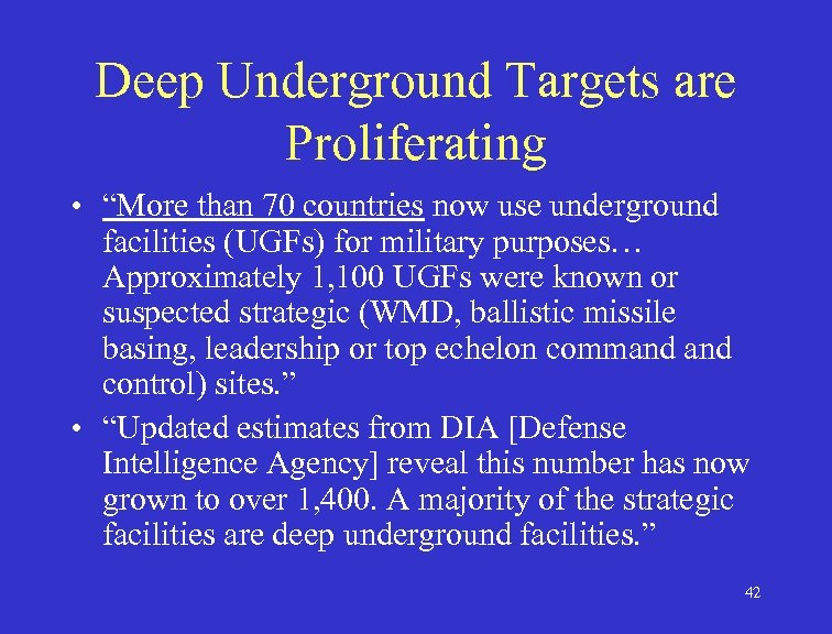 """Deep Underground Targets are Proliferating • """"More than 70 countries now use underground facilities"""
