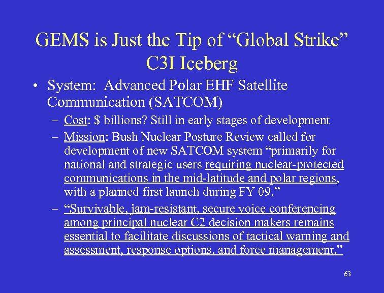 "GEMS is Just the Tip of ""Global Strike"" C 3 I Iceberg • System:"
