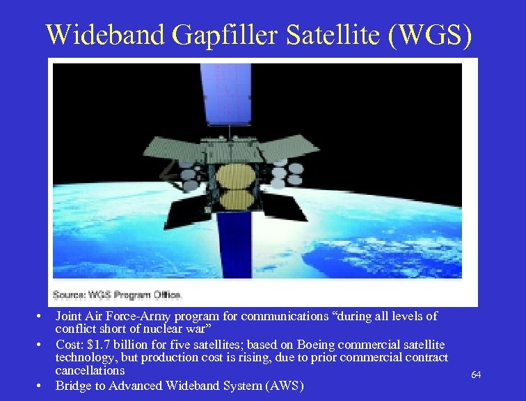 """Wideband Gapfiller Satellite (WGS) • • • Joint Air Force-Army program for communications """"during"""