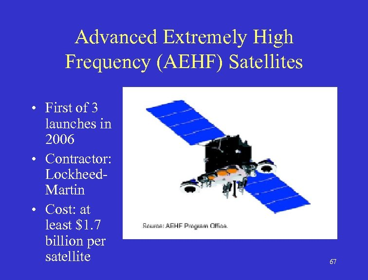 Advanced Extremely High Frequency (AEHF) Satellites • First of 3 launches in 2006 •