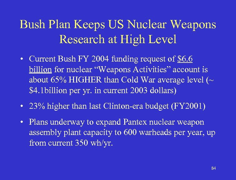 Bush Plan Keeps US Nuclear Weapons Research at High Level • Current Bush FY