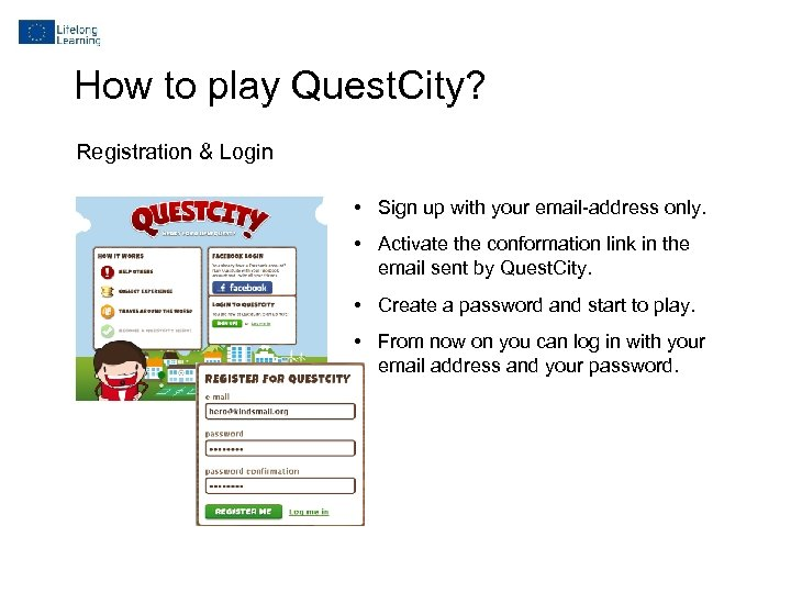 How to play Quest. City? Registration & Login • Sign up with your email-address