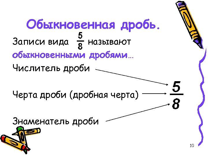 Обыкновенная дробь. Записи вида называют обыкновенными дробями… Числитель дроби Черта дроби (дробная черта) Знаменатель