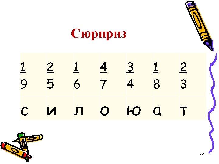 Сюрприз 1 9 2 5 1 6 4 7 c и л о 3