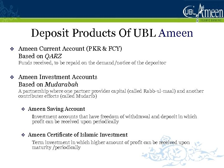 Deposit Products Of UBL Ameen v Ameen Current Account (PKR & FCY) Based on
