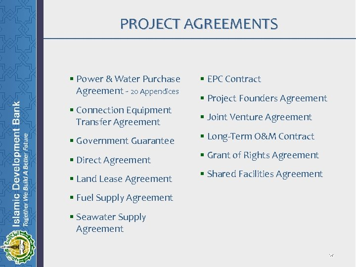 PROJECT AGREEMENTS § Power & Water Purchase Agreement - 20 Appendices § Connection Equipment