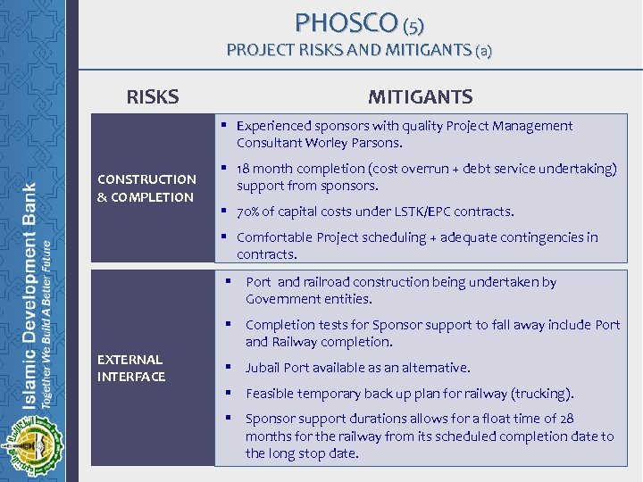 PHOSCO (5) PROJECT RISKS AND MITIGANTS (a) RISKS MITIGANTS § Experienced sponsors with quality