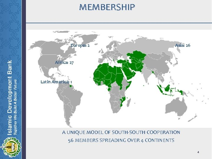 MEMBERSHIP Europe: 2 Asia: 26 Africa: 27 Latin America: 1 A UNIQUE MODEL OF