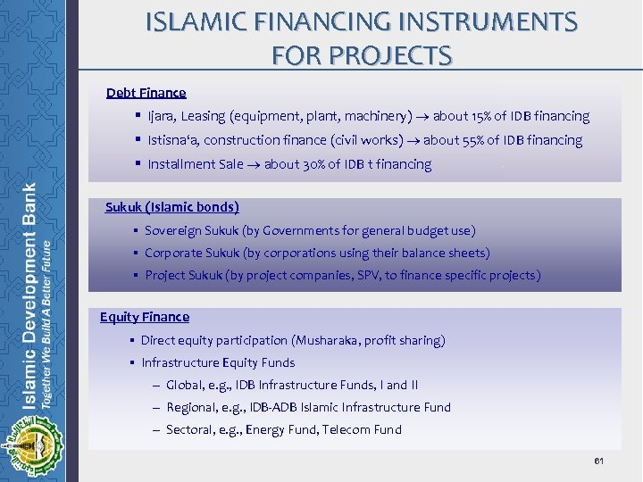 ISLAMIC FINANCING INSTRUMENTS FOR PROJECTS Debt Finance § Ijara, Leasing (equipment, plant, machinery) about