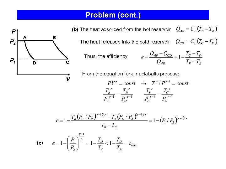Problem (cont. ) P P 2 P 1 (b) The heat absorbed from the