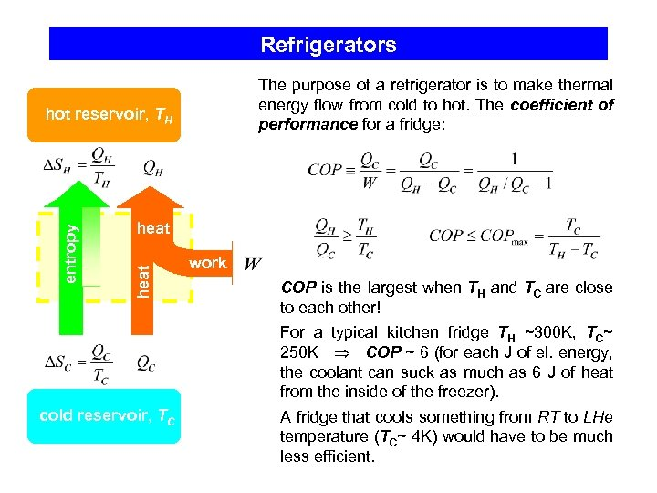 Refrigerators The purpose of a refrigerator is to make thermal energy flow from cold