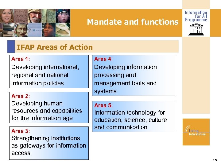Mandate and functions IFAP Areas of Action Area 1: Area 4: Developing international, regional