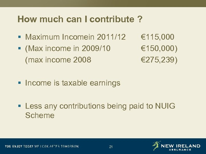 How much can I contribute ? § Maximum Incomein 2011/12 § (Max income in