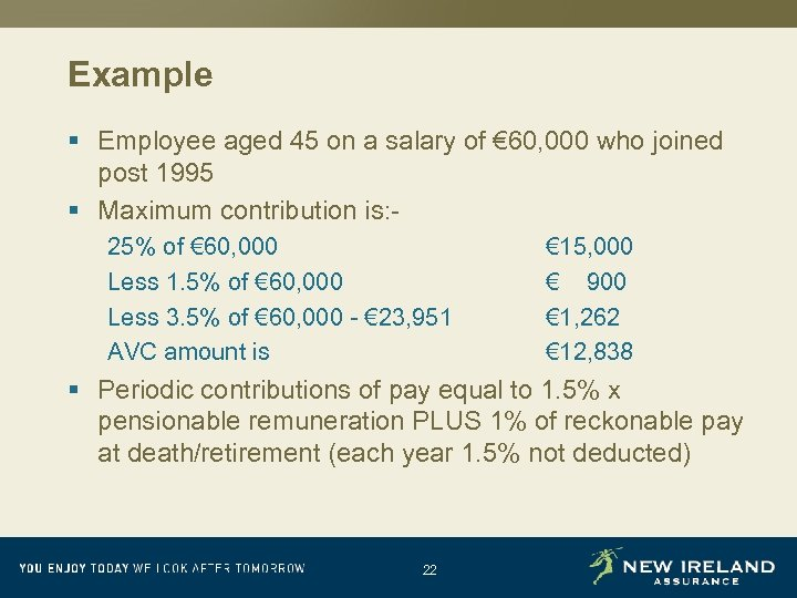 Example § Employee aged 45 on a salary of € 60, 000 who joined