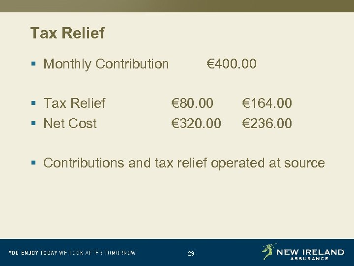 Tax Relief § Monthly Contribution § Tax Relief § Net Cost € 400. 00