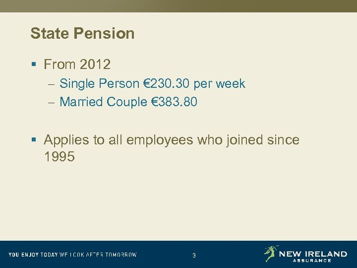 State Pension § From 2012 – Single Person € 230. 30 per week –