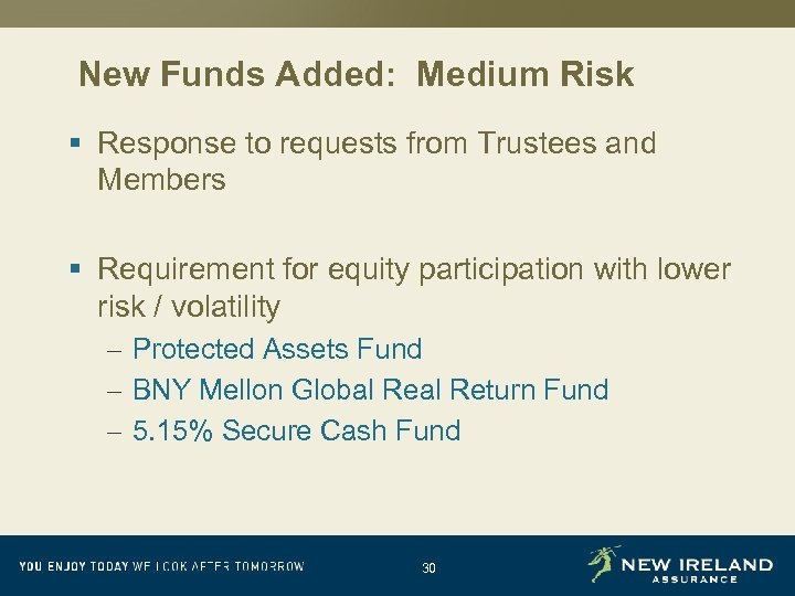New Funds Added: Medium Risk § Response to requests from Trustees and Members §