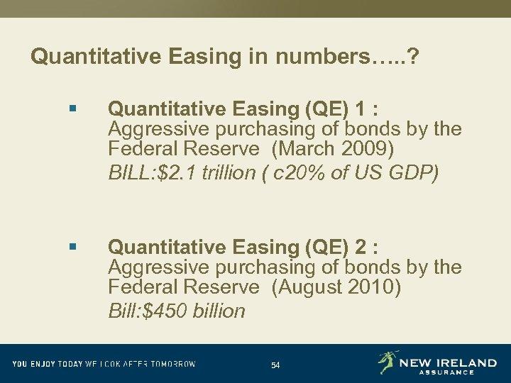 Quantitative Easing in numbers…. . ? § Quantitative Easing (QE) 1 : Aggressive purchasing