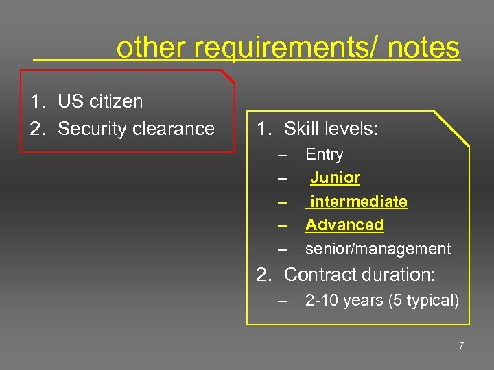 other requirements/ notes 1. US citizen 2. Security clearance 1. Skill levels: –