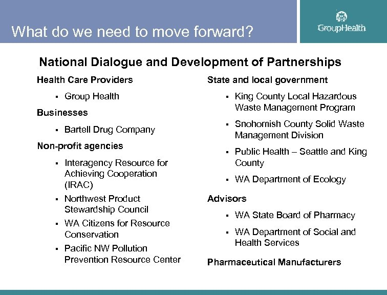 What do we need to move forward? National Dialogue and Development of Partnerships Health