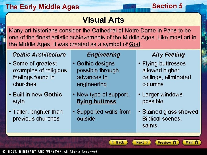 Section 5 The Early Middle Ages Visual Arts Many art historians consider the Cathedral