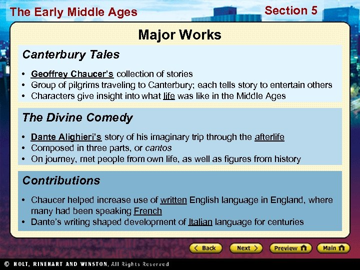 Section 5 The Early Middle Ages Major Works Canterbury Tales • Geoffrey Chaucer's collection
