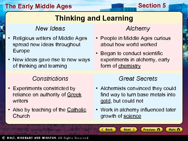 Section 5 The Early Middle Ages Thinking and Learning New Ideas • Religious writers