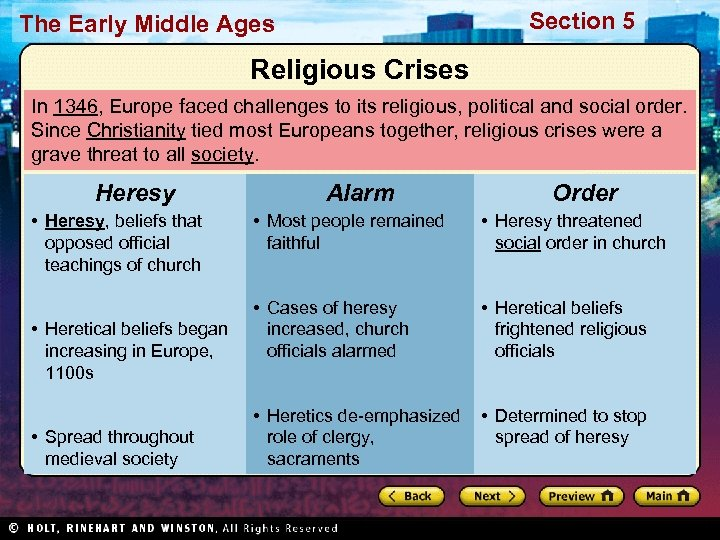 Section 5 The Early Middle Ages Religious Crises In 1346, Europe faced challenges to