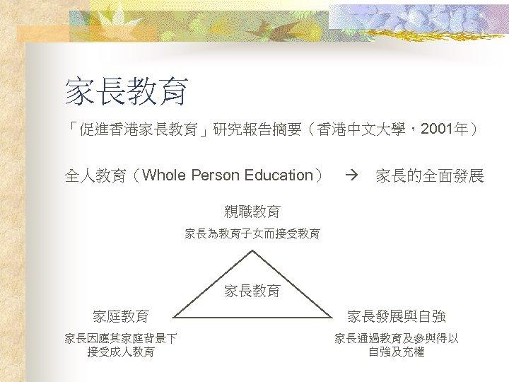 家長教育 「促進香港家長教育」研究報告摘要(香港中文大學,2001年) 全人教育(Whole Person Education)   家長的全面發展 親職教育 家長為教育子女而接受教育 家長教育 家庭教育 家長發展與自強 家長因應其家庭背景下 接受成人教育 家長通過教育及參與得以