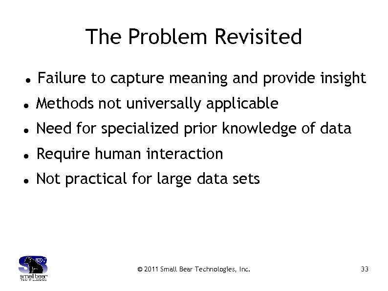 The Problem Revisited Failure to capture meaning and provide insight Methods not universally applicable