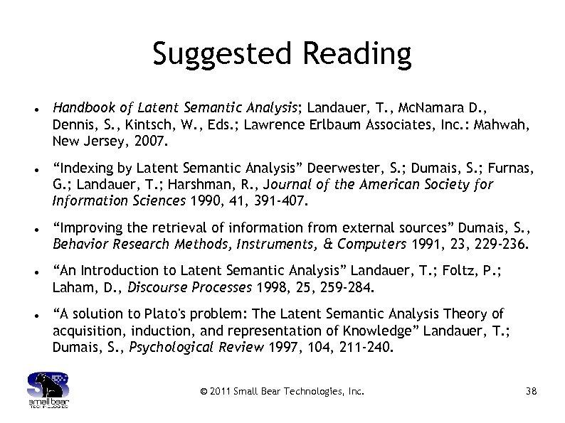 Suggested Reading Handbook of Latent Semantic Analysis; Landauer, T. , Mc. Namara D. ,