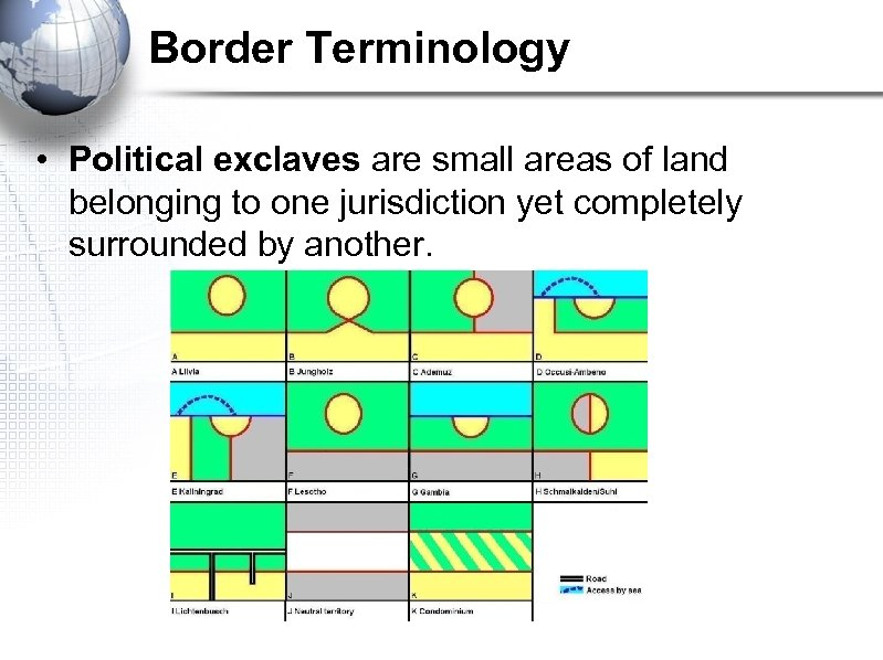 Border Terminology • Political exclaves are small areas of land belonging to one jurisdiction