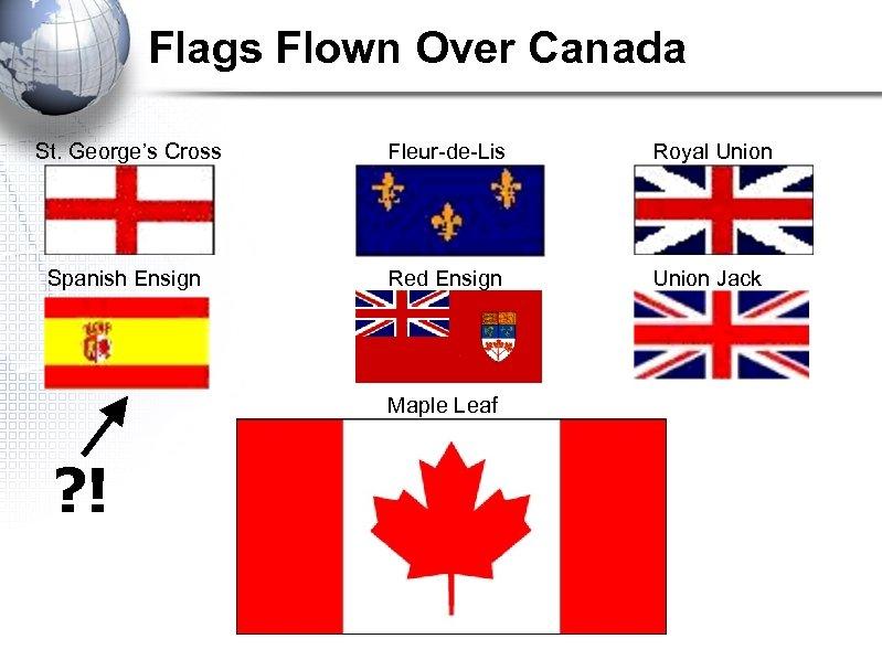 Flags Flown Over Canada St. George's Cross Spanish Ensign Fleur-de-Lis Royal Union Red Ensign
