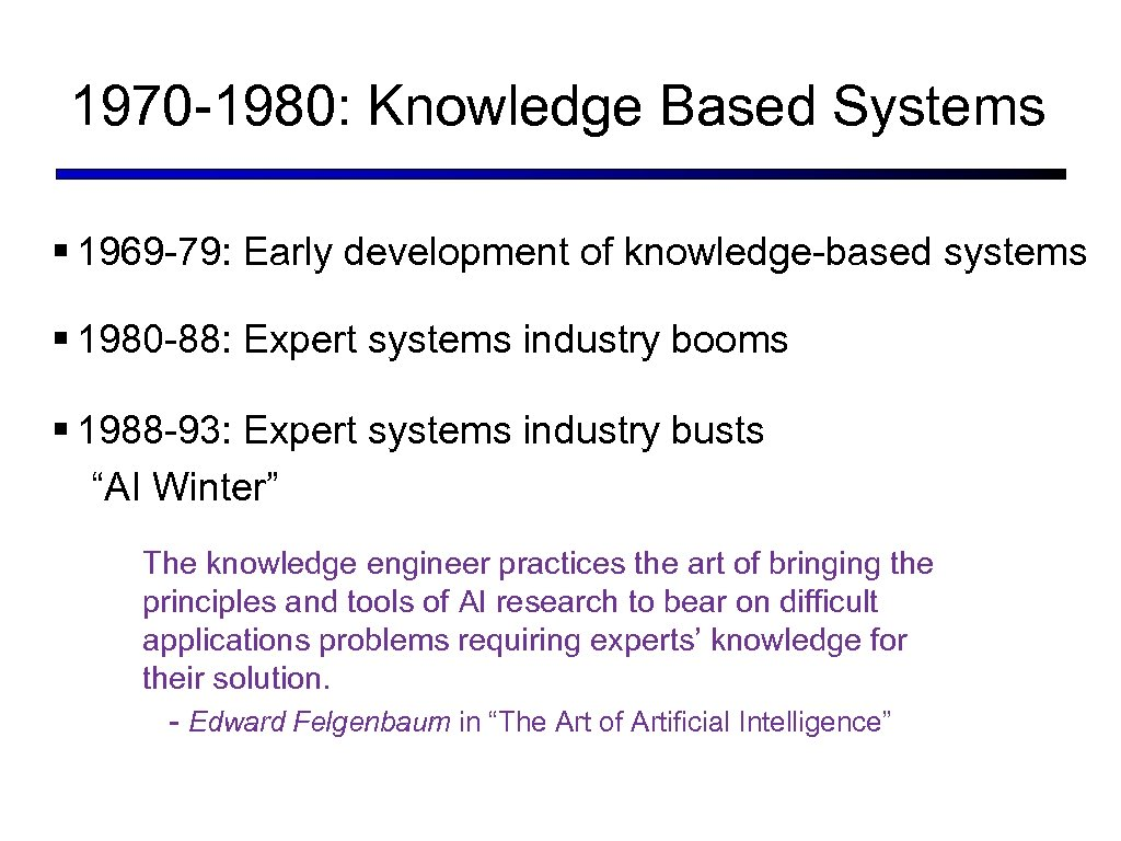 1970 -1980: Knowledge Based Systems § 1969 -79: Early development of knowledge-based systems §