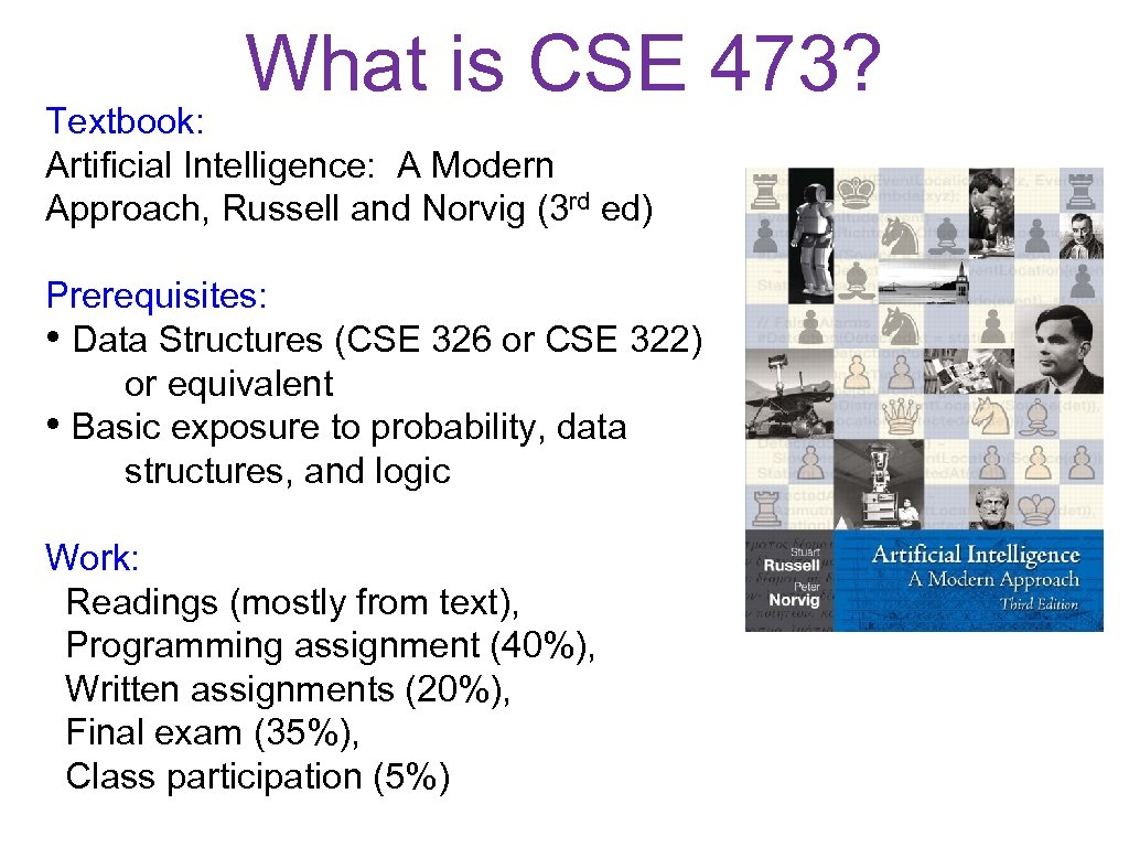 What is CSE 473? Textbook: Artificial Intelligence: A Modern Approach, Russell and Norvig (3