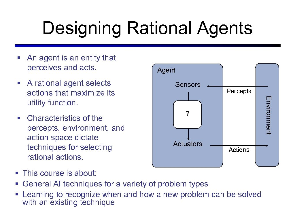 Designing Rational Agents § An agent is an entity that perceives and acts. §