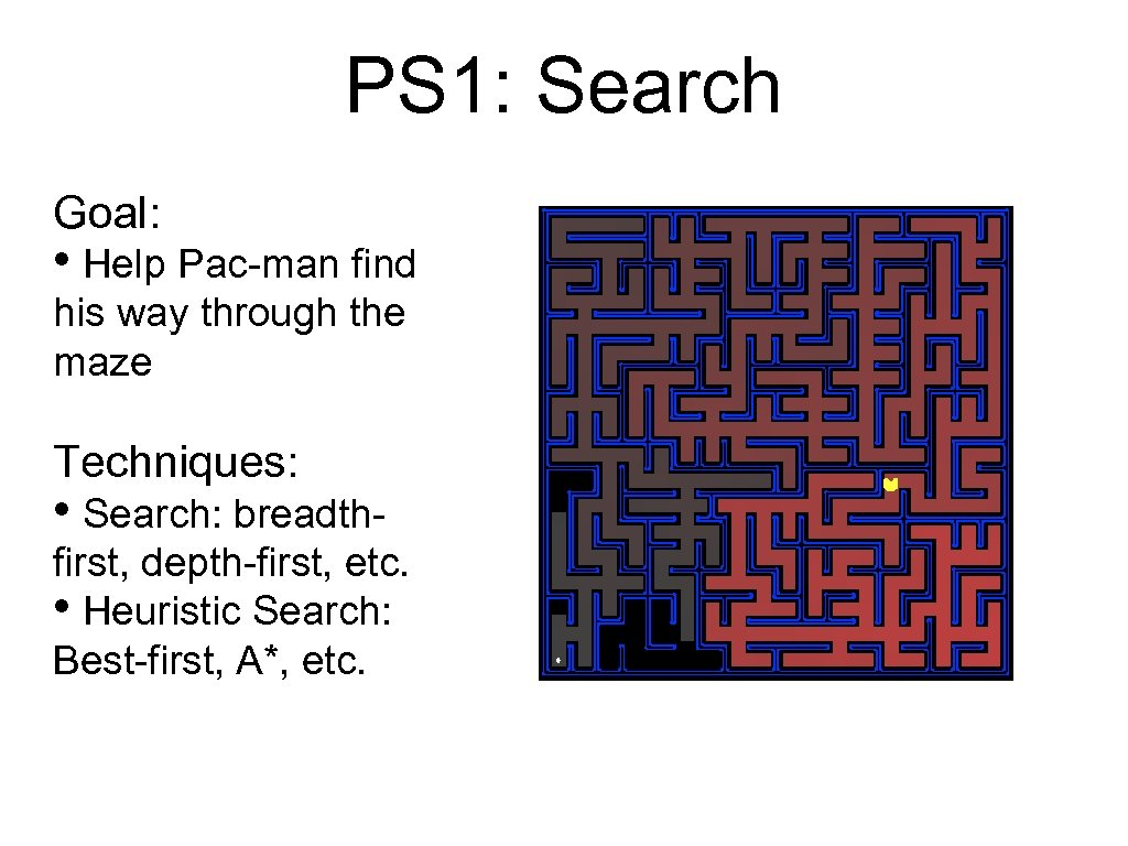 PS 1: Search Goal: • Help Pac-man find his way through the maze Techniques:
