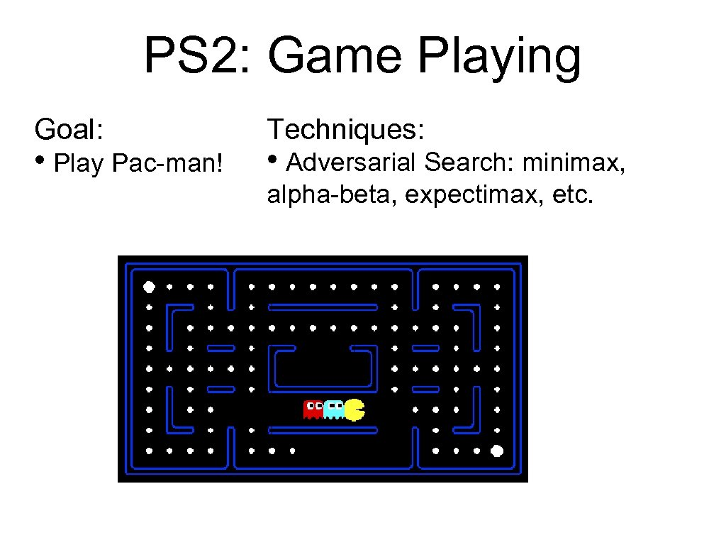 PS 2: Game Playing Goal: • Play Pac-man! Techniques: • Adversarial Search: minimax, alpha-beta,