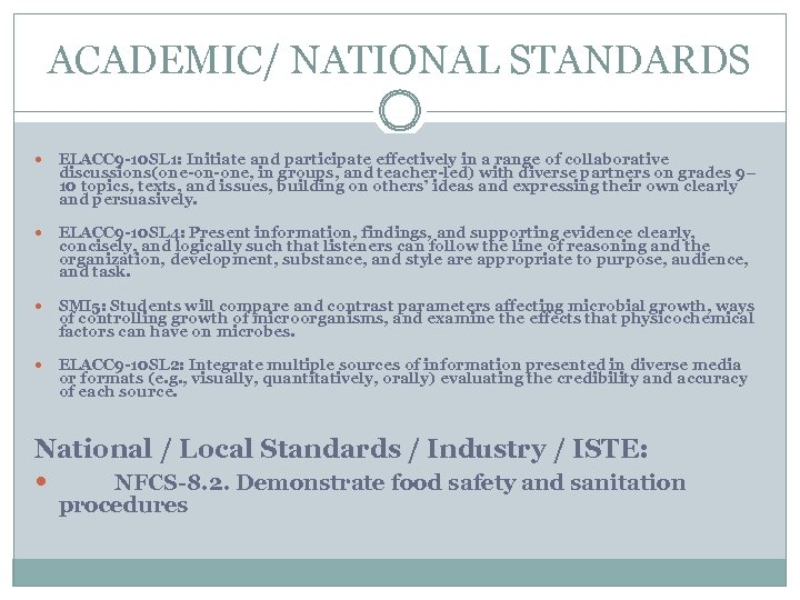 ACADEMIC/ NATIONAL STANDARDS ELACC 9 -10 SL 1: Initiate and participate effectively in a
