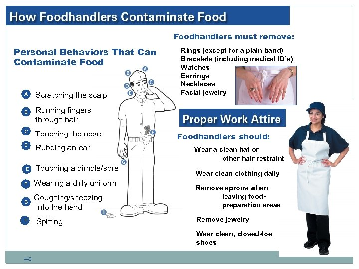Foodhandlers must remove: Personal Behaviors That Can Contaminate Food A B Scratching the scalp