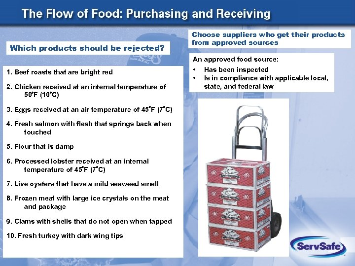 Which products should be rejected? Choose suppliers who get their products from approved sources