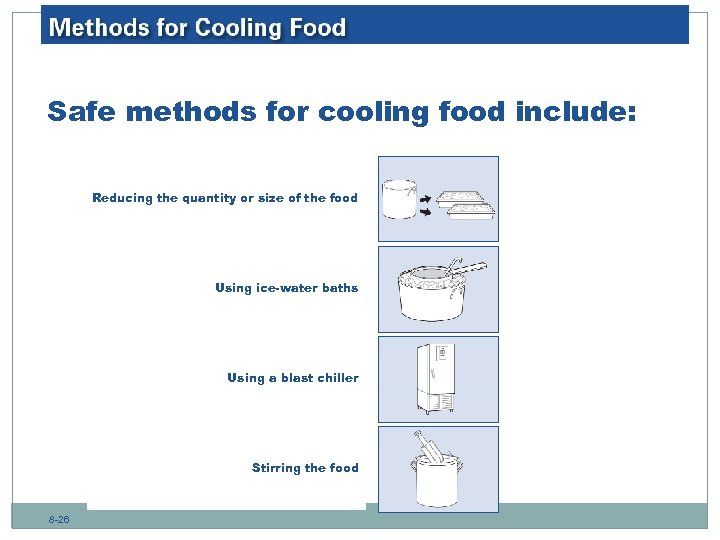 Safe methods for cooling food include: Reducing the quantity or size of the food