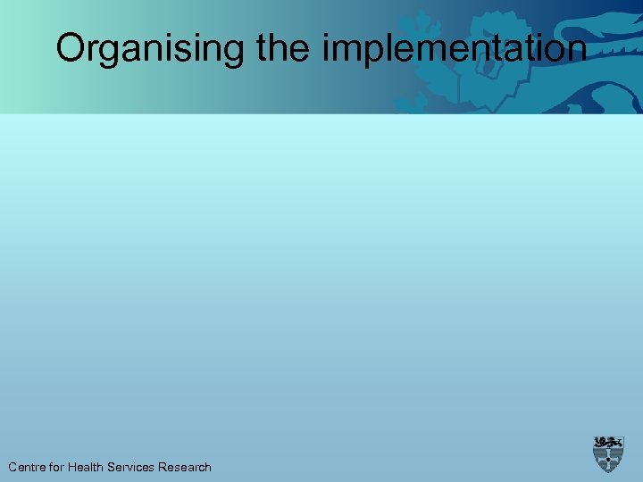 Organising the implementation Centre for Health Services Research