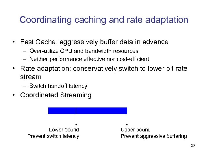 Coordinating caching and rate adaptation • Fast Cache: aggressively buffer data in advance –